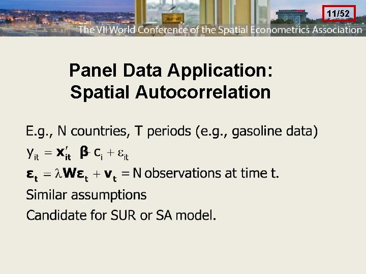 11/52 Panel Data Application: Spatial Autocorrelation