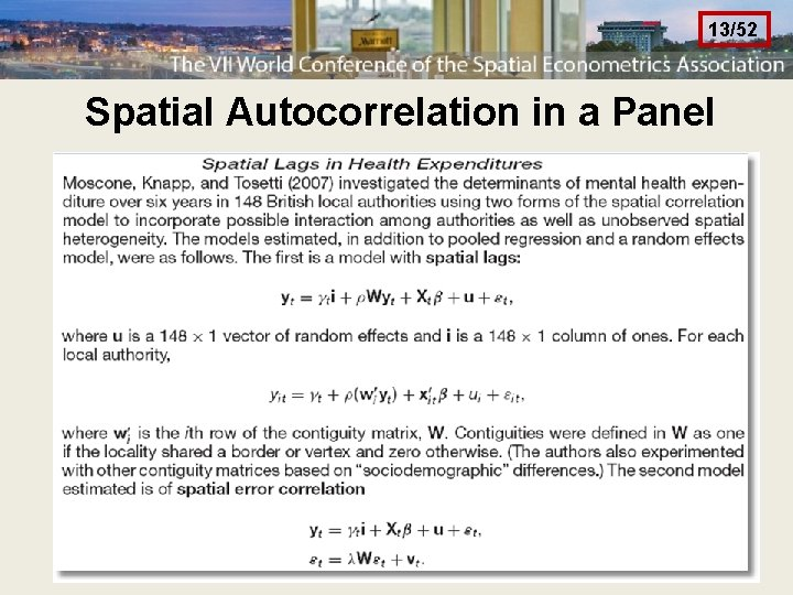 13/52 Spatial Autocorrelation in a Panel