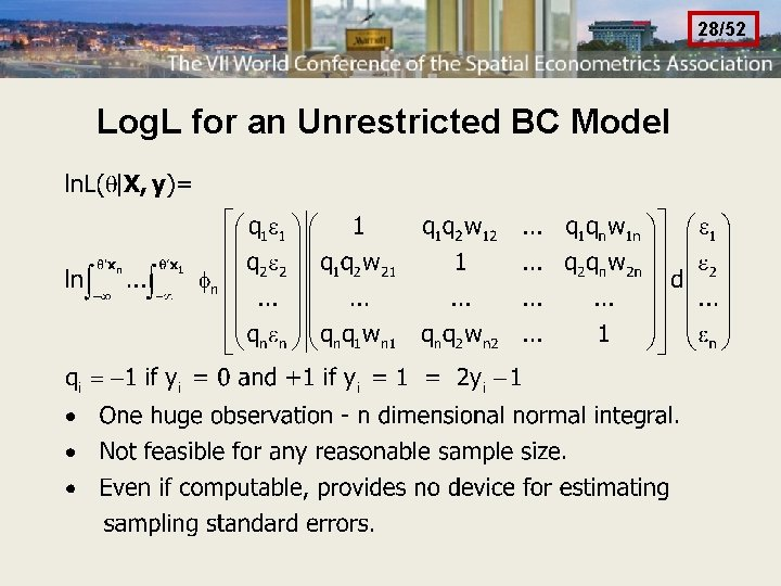 28/52 Log. L for an Unrestricted BC Model