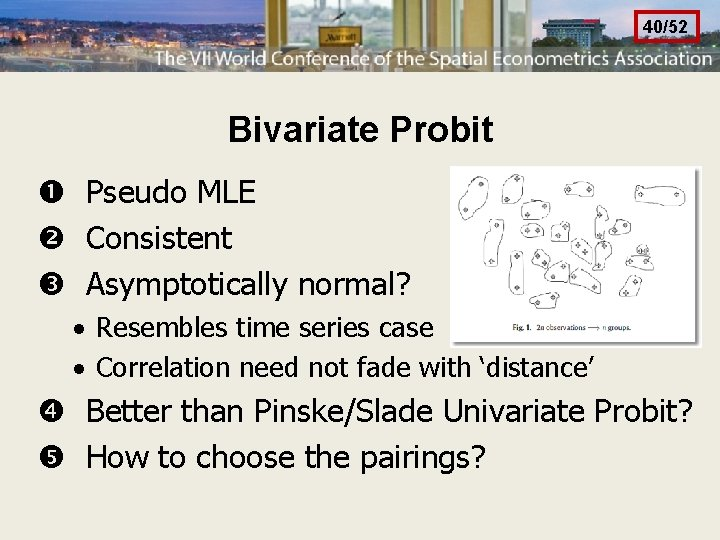 40/52 Bivariate Probit Pseudo MLE Consistent Asymptotically normal? · Resembles time series case ·