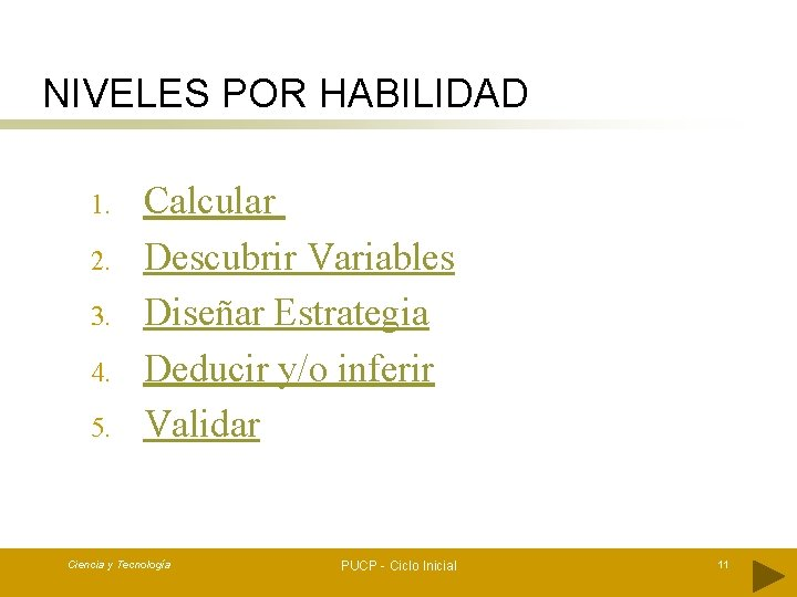 NIVELES POR HABILIDAD 1. 2. 3. 4. 5. Calcular Descubrir Variables Diseñar Estrategia Deducir