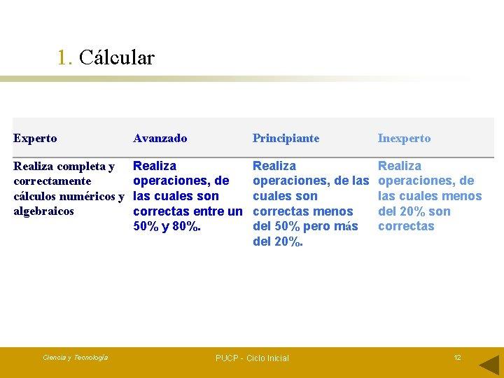 1. Cálcular Experto Avanzado Principiante Inexperto Realiza completa y correctamente cálculos numéricos y algebraicos