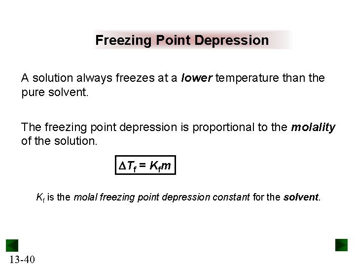 Freezing Point Depression A solution always freezes at a lower temperature than the pure