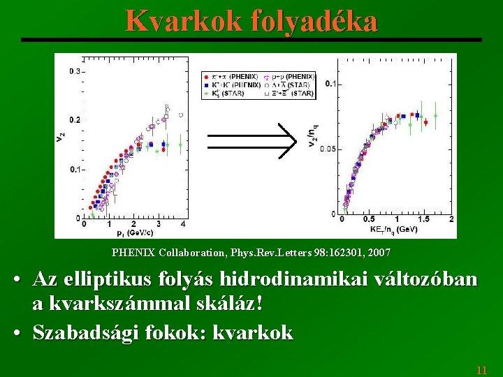 Kvarkok folyadéka PHENIX Collaboration, Phys. Rev. Letters 98: 162301, 2007 • Az elliptikus folyás