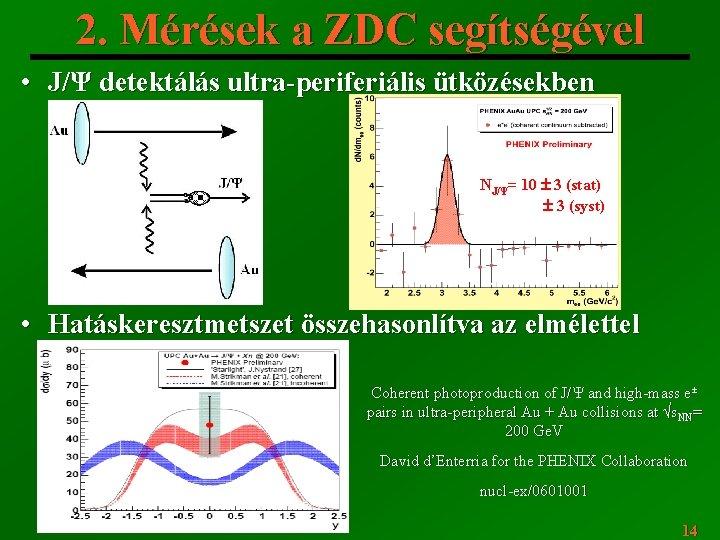 2. Mérések a ZDC segítségével • J/Ψ detektálás ultra-periferiális ütközésekben NJ/Ψ= 10 3 (stat)