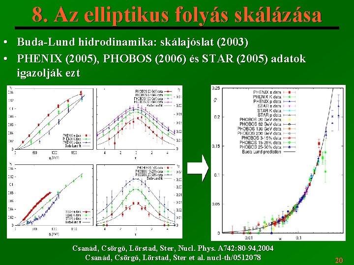 8. Az elliptikus folyás skálázása • Buda-Lund hidrodinamika: skálajóslat (2003) • PHENIX (2005), PHOBOS