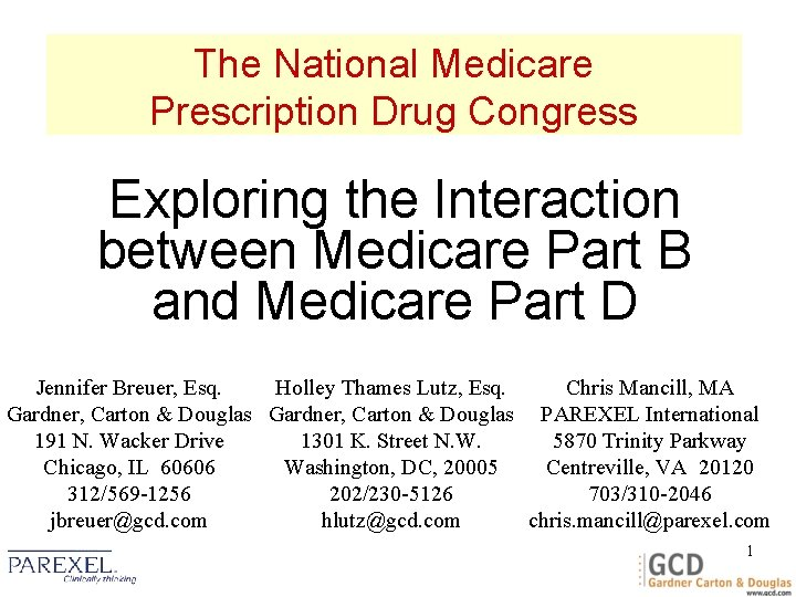 The National Medicare Prescription Drug Congress Exploring the Interaction between Medicare Part B and