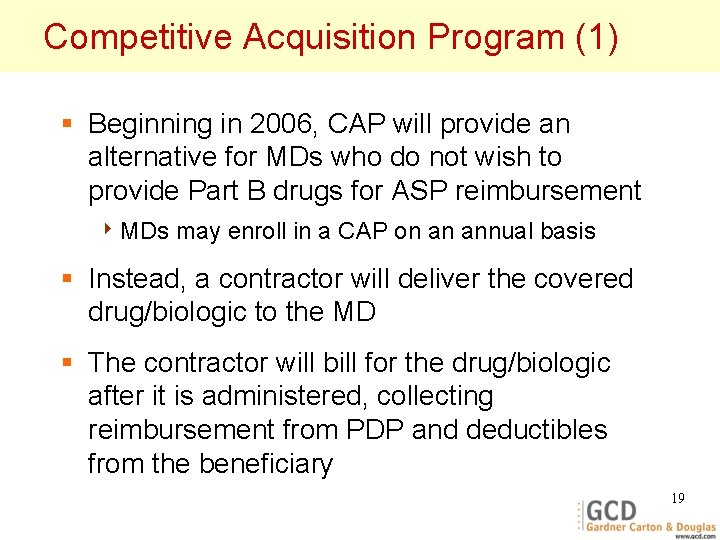 Competitive Acquisition Program (1) § Beginning in 2006, CAP will provide an alternative for