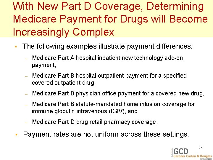 With New Part D Coverage, Determining Medicare Payment for Drugs will Become Increasingly Complex