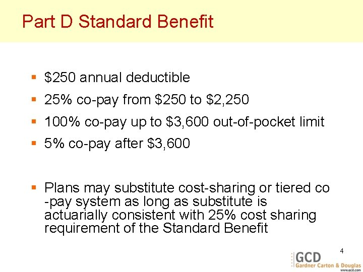 Part D Standard Benefit § $250 annual deductible § 25% co-pay from $250 to