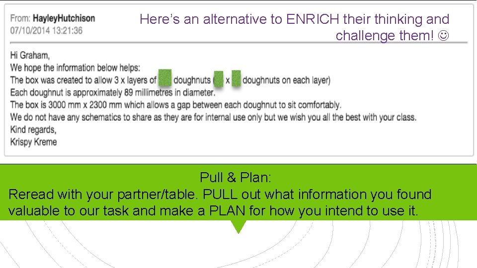 Here's an alternative to ENRICH their thinking and challenge them! Pull & Plan: Reread