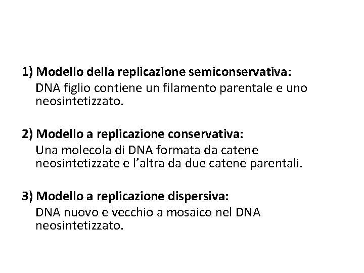1) Modello della replicazione semiconservativa: DNA figlio contiene un filamento parentale e uno neosintetizzato.