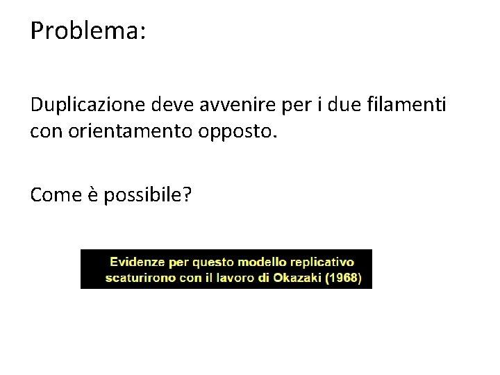 Problema: Duplicazione deve avvenire per i due filamenti con orientamento opposto. Come è possibile?