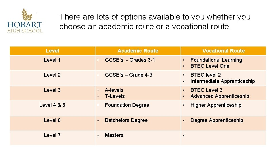 There are lots of options available to you whether you choose an academic route