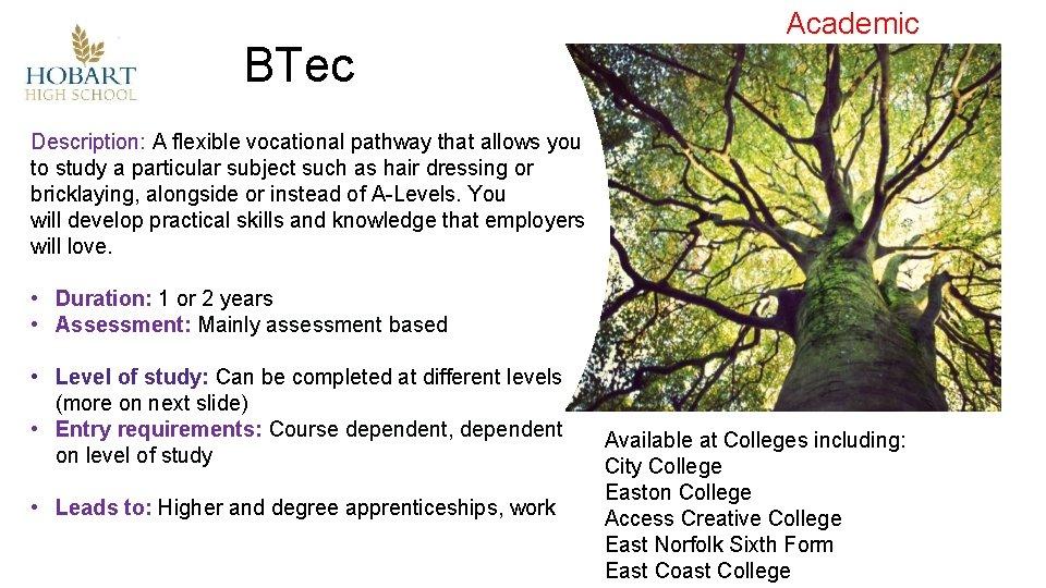 BTec Academic Description: A flexible vocational pathway that allows you to study a particular