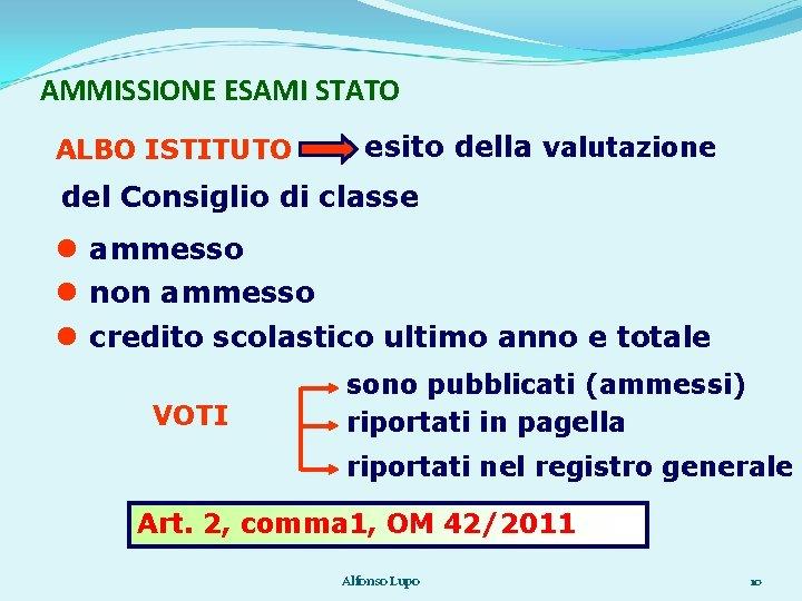AMMISSIONE ESAMI STATO ALBO ISTITUTO esito della valutazione del Consiglio di classe ammesso non