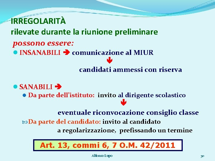 IRREGOLARITÀ rilevate durante la riunione preliminare possono essere: INSANABILI comunicazione al MIUR candidati ammessi