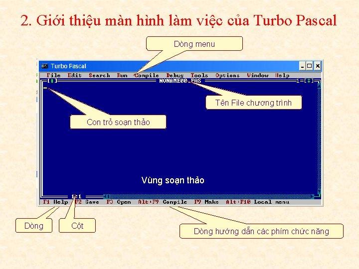 2. Giới thiệu màn hình làm việc của Turbo Pascal Dòng menu Tên File