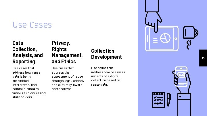 Use Cases Data Collection, Analysis, and Reporting Privacy, Rights Management, and Ethics Use cases