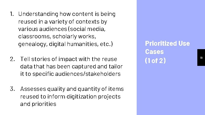 1. Understanding how content is being reused in a variety of contexts by various