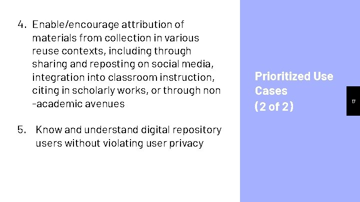 4. Enable/encourage attribution of materials from collection in various reuse contexts, including through sharing