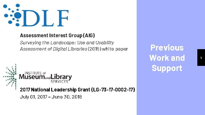 Assessment Interest Group (AIG) Surveying the Landscape: Use and Usability Assessment of Digital Libraries