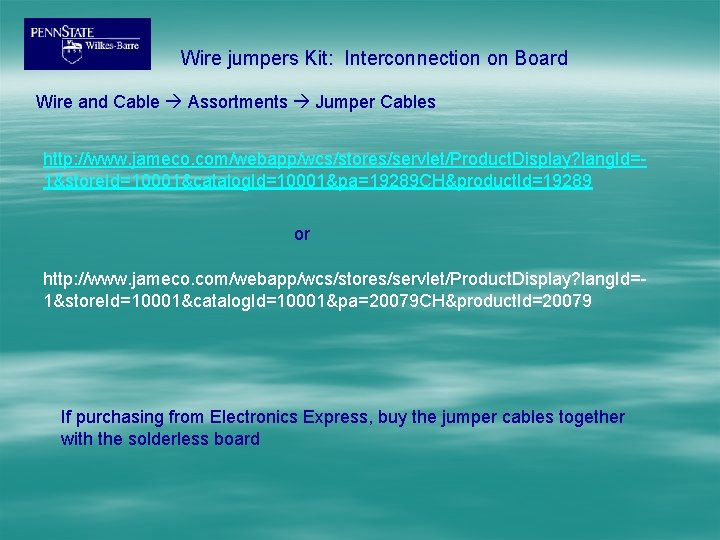 Wire jumpers Kit: Interconnection on Board Wire and Cable Assortments Jumper Cables http: //www.