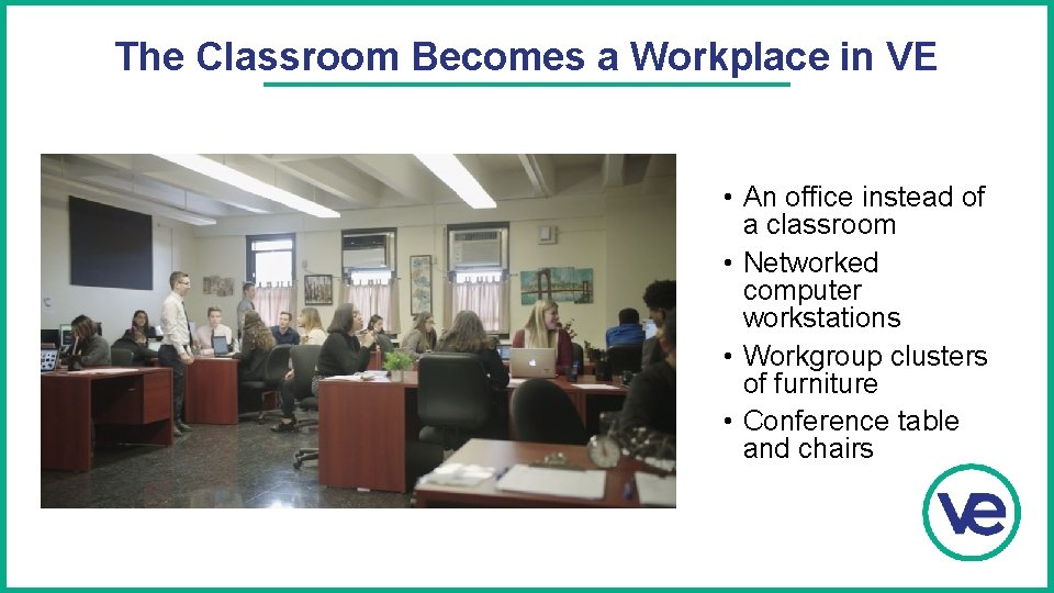The Classroom Becomes a Workplace in VE • An office instead of a classroom