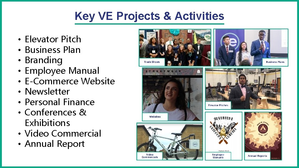 Key VE Projects & Activities Elevator Pitch Business Plan Branding Employee Manual E-Commerce Website