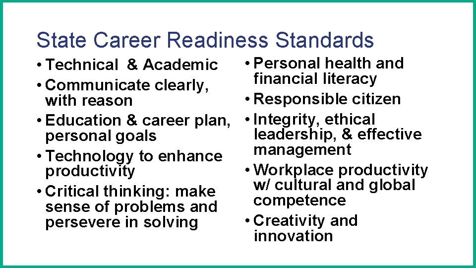 State Career Readiness Standards • Technical & Academic • Communicate clearly, with reason •