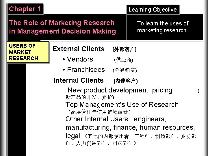 Chapter 1 Learning Objective The Role of Marketing Research in Management Decision Making USERS
