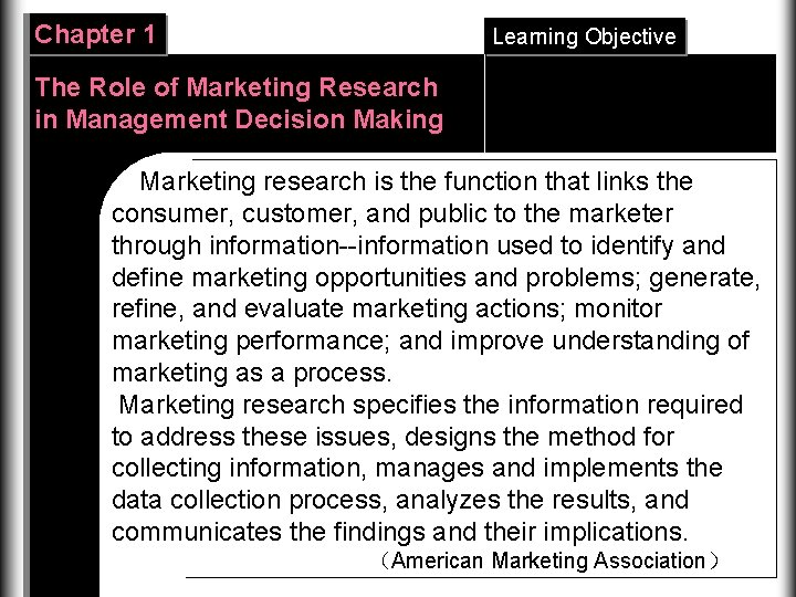 Chapter 1 Learning Objective The Role of Marketing Research in Management Decision Making Marketing