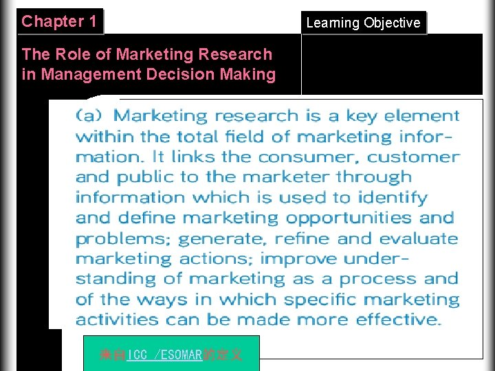 Chapter 1 Learning Objective The Role of Marketing Research in Management Decision Making 来自ICC