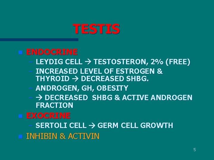 TESTIS n ENDOCRINE – LEYDIG CELL TESTOSTERON, 2% (FREE) – INCREASED LEVEL OF ESTROGEN