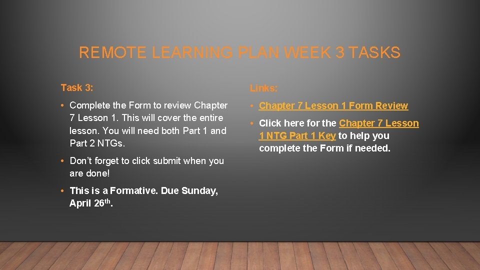 REMOTE LEARNING PLAN WEEK 3 TASKS Task 3: Links: • Complete the Form to