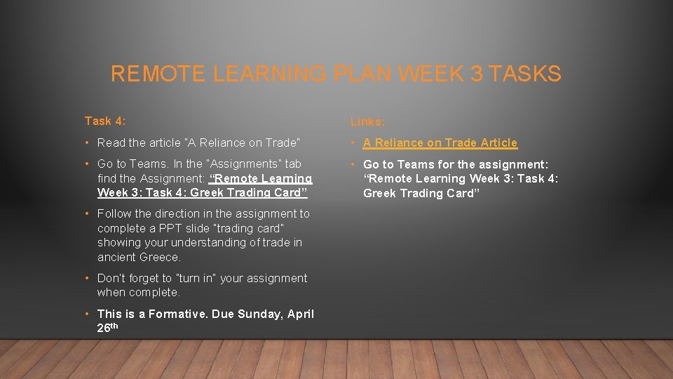 """REMOTE LEARNING PLAN WEEK 3 TASKS Task 4: Links: • Read the article """"A"""