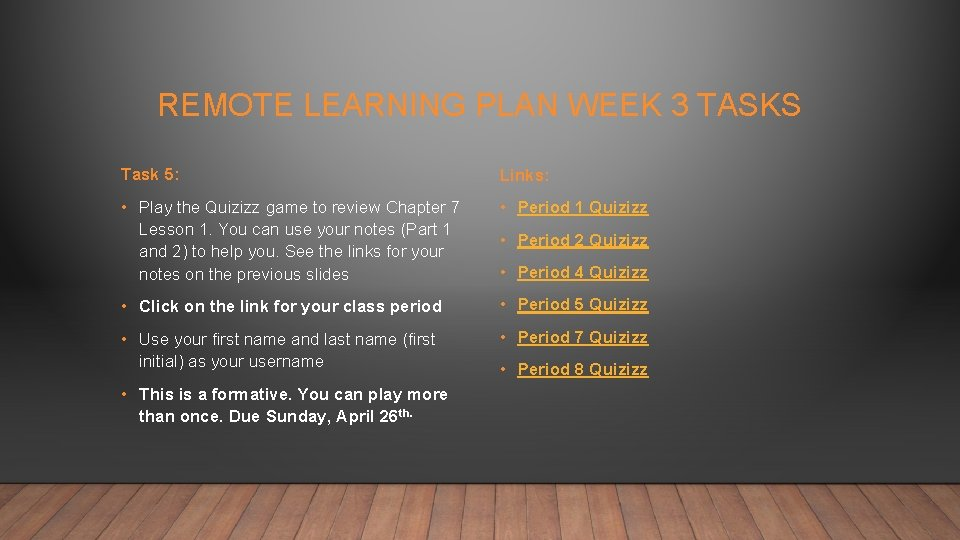 REMOTE LEARNING PLAN WEEK 3 TASKS Task 5: Links: • Play the Quizizz game