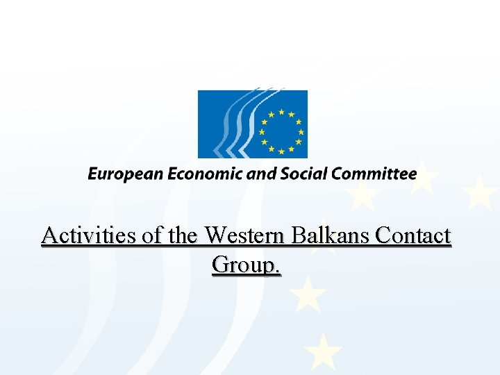 Activities of the Western Balkans Contact Group.