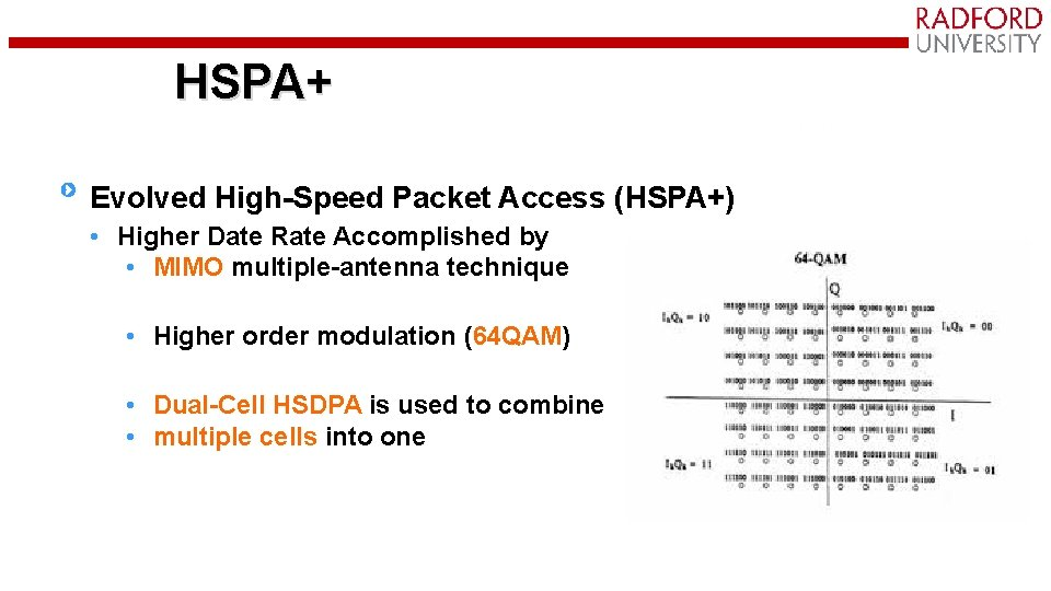 HSPA+ Evolved High-Speed Packet Access (HSPA+) • Higher Date Rate Accomplished by • MIMO