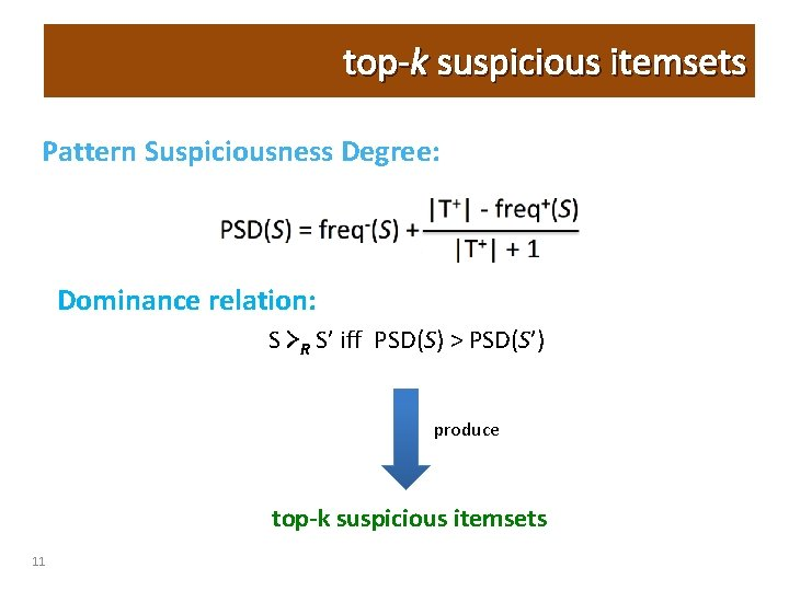 top-k suspicious itemsets Pattern Suspiciousness Degree: PSD(S) = freq-(S) +  T+  - freq+(S)  T+ 