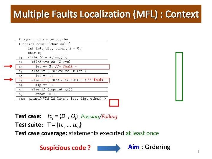 Multiple Faults Localization (MFL) : Context 7 //-fault- Test case: tci = (Di ,