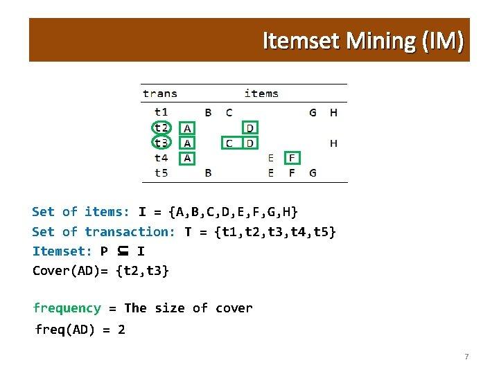 Itemset Mining (IM) Set of items: I = {A, B, C, D, E, F,