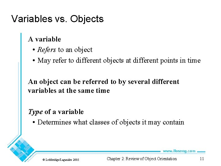Variables vs. Objects A variable • Refers to an object • May refer to
