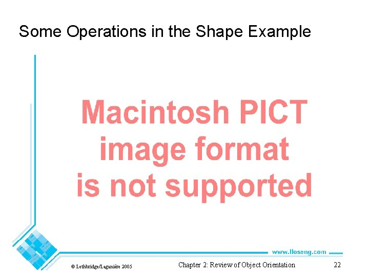 Some Operations in the Shape Example © Lethbridge/Laganière 2005 Chapter 2: Review of Object