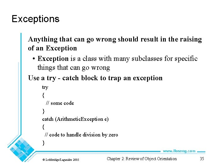 Exceptions Anything that can go wrong should result in the raising of an Exception