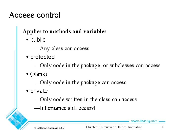 Access control Applies to methods and variables • public —Any class can access •