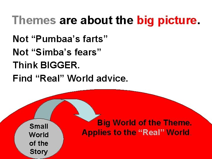 """Themes are about the big picture. Not """"Pumbaa's farts"""" Not """"Simba's fears"""" Think BIGGER."""