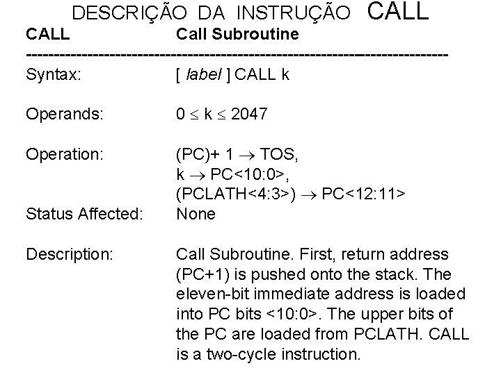 DESCRIÇÃO DA INSTRUÇÃO CALL Call Subroutine --------------------------------------Syntax: [ label ] CALL k Operands: 0