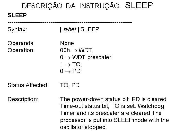 DESCRIÇÃO DA INSTRUÇÃO SLEEP --------------------------------Syntax: [ label ] SLEEP Operands: Operation: None 00 h
