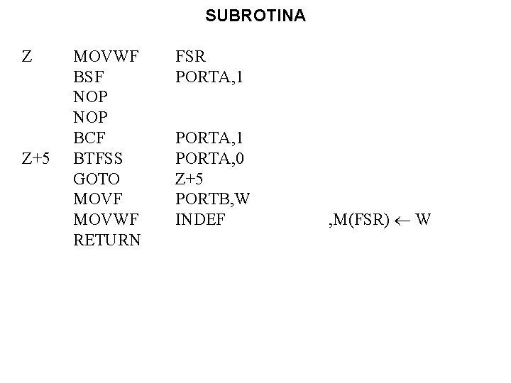 SUBROTINA Z Z+5 MOVWF BSF NOP BCF BTFSS GOTO MOVF MOVWF RETURN FSR PORTA,